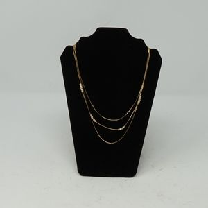 Multi Strand Gold w Pearl Fashion Necklace